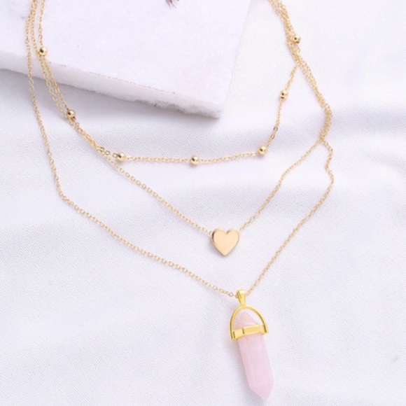 8a90d87ef4 SHEIN Jewelry | Gold Heart Pendant Layered Chain Necklace | Poshmark